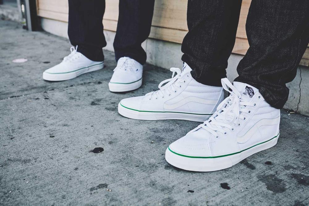 white vans authentic on feet